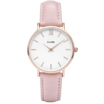 Cluse Minuit Leather Rose Gold White/Pink CW0101203006