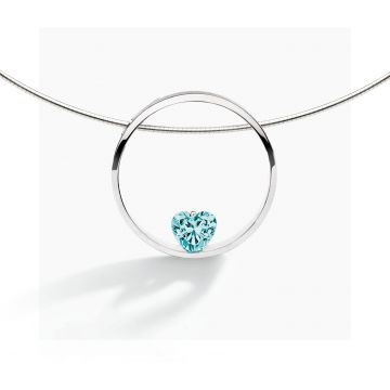 FJF JEWELLERY COLLIER HEART SILVER / TURQUOISE FJF0010001STQ