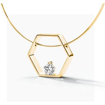 FJF JEWELLERY COLLIER PENTAGON YG / WHITE  FJF0010003YWH