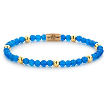 Rebel & Rose More Balls Than Most Brightening Blue - 4mm - yellow gold plated RR-40047-G